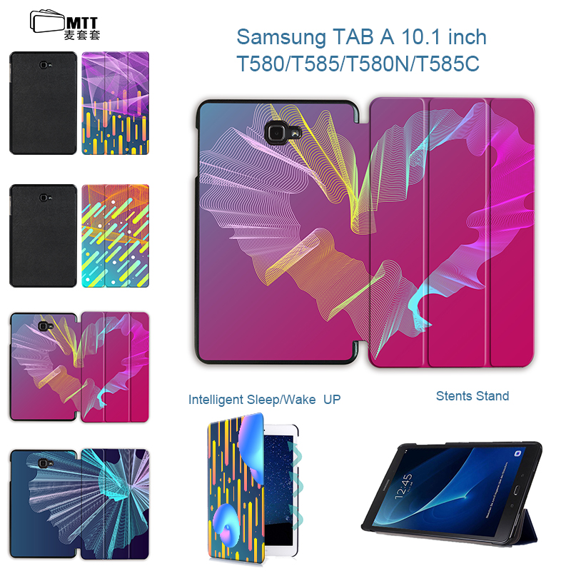 MTT Creative gradient Magnet Flip PU Leather Cover For Samsung Galaxy Tab A A6 10.1 2016 T580 T585 T580N SM-T580 Tablet Case fashion painted flip pu leather for samsung galaxy tab a 10 1 sm t580 t585 t580n 10 1 inch tablet smart case cover pen film