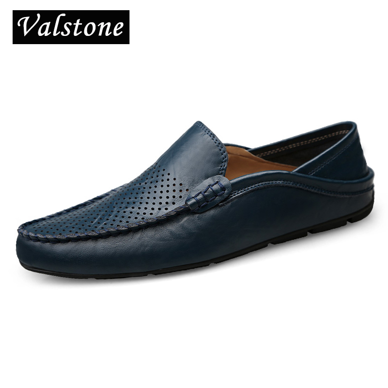 Valstone hollowed Sapatos de couro Casual Men Slip-on mocassins - Sapatos masculinos