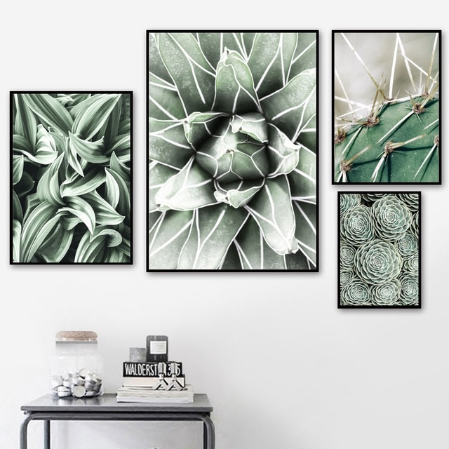 Green Cactus Succulent Orchid Leaves Wall Art