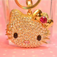 Free Shipping Crytal Cute Hello Kitty Keychain Rhinestone Mirror Key Chain
