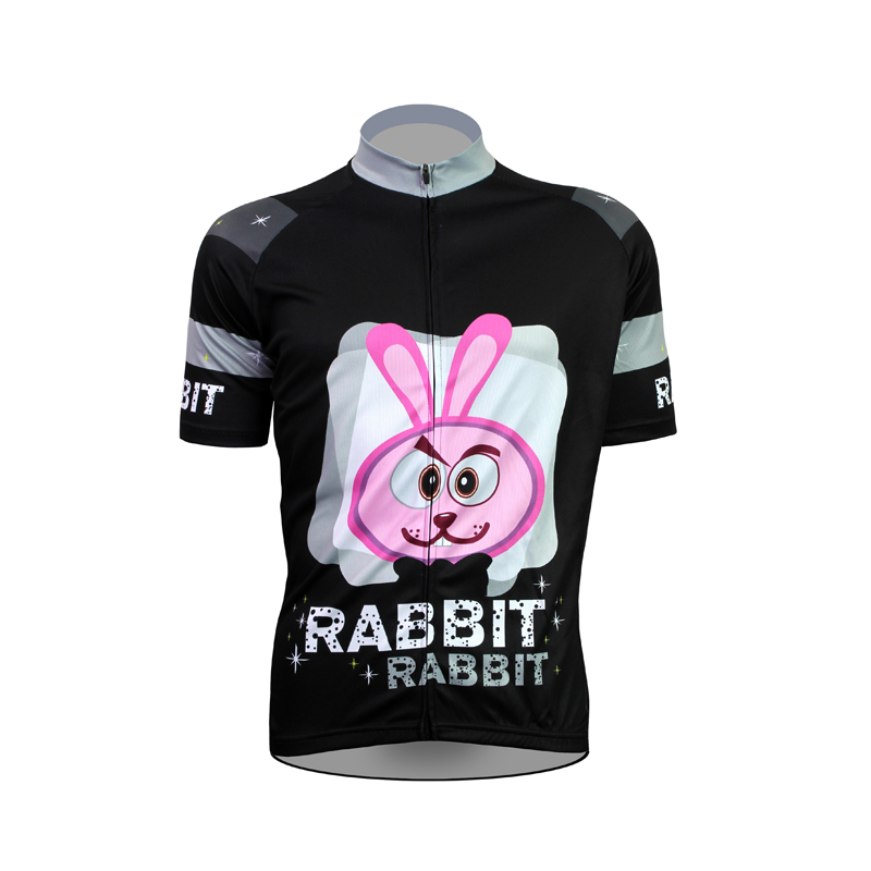 ФОТО 17 RABBIT Pattern Men Summer 2017 Sleeve Cycling Jersey Black 100%Polyester Breathable Bike Clothes Size XS-5XL