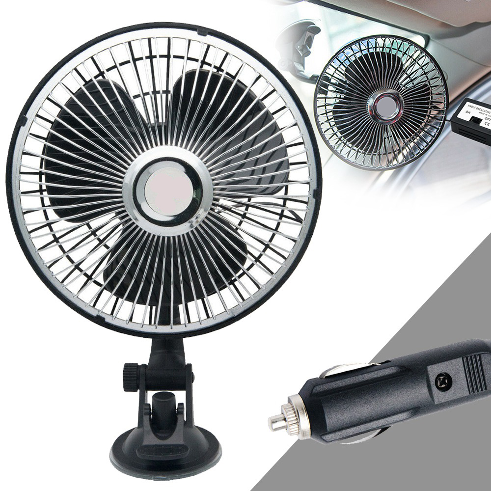 12V 8 inch Portable Car Fan Strong Van Suction Dashboard Window Mount