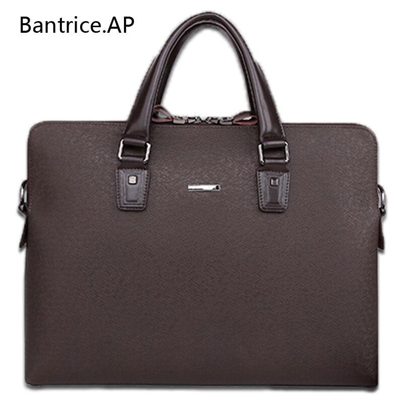 Neue Qualitäts Männlich Leder Männer Laptop Aktentasche Tasche 14 Zoll Computer Taschen Handtasche business-tasche Einzigen schulter business taschen