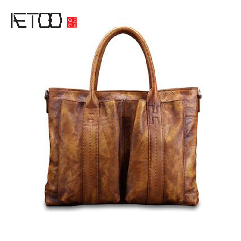 AETOO Men's casual handbag cross section leather hand first layer of leather diagonal cross bag retro shoulder bag computer bag qiaobao women general genuine leather handbags tide europe fashion first layer of cowhide women bag hand diagonal cross package