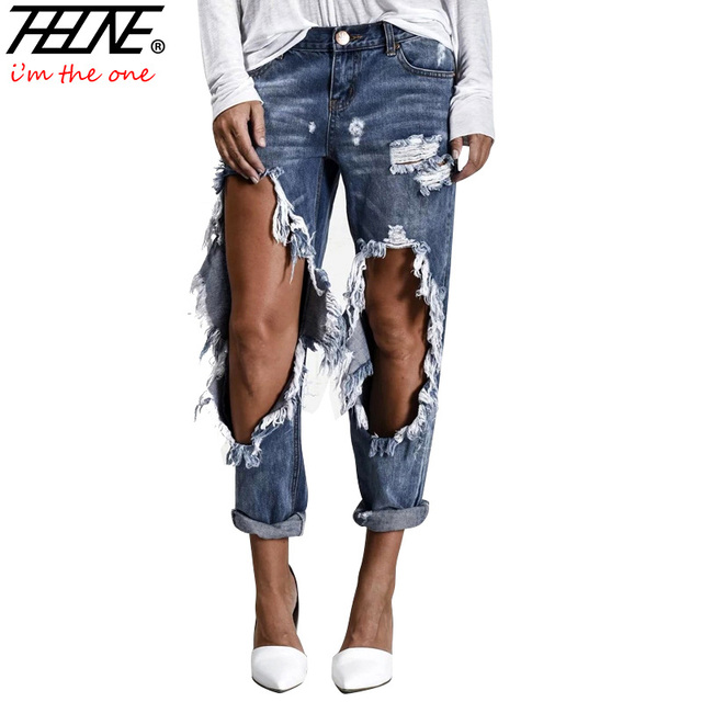 THHONE Brand Ripped Jeans Women Street Denim Pants Big ...