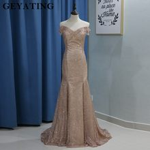 d428d6f78dc82 Bling Rose Gold Dresses Evening Long Mermaid Formal Party Gowns 2018  Champagne Off Shoulder Beading Arabic Dubai Prom Dress