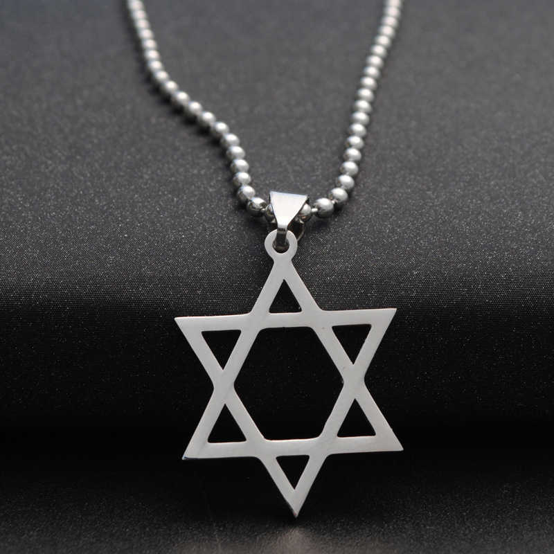 Vintage Amulet Hollow Shield of David Necklace Stainless Steel Chain Pentagram Necklaces Pendants For Women Men Jewish Jewelry