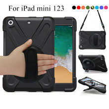 For iPad mini 123 7.9-inch 3-layers Rugged PC+Silicon hard Cover for iPad mini 3 w/360 Swivel Stand hold,Hand Strap & Neck Strap все цены