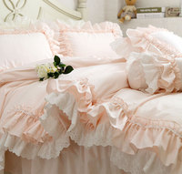 Princess ruffled lace double bedding sets girl,full queen king fairyfair cotton home textiles bedspread pillow case duvet cover
