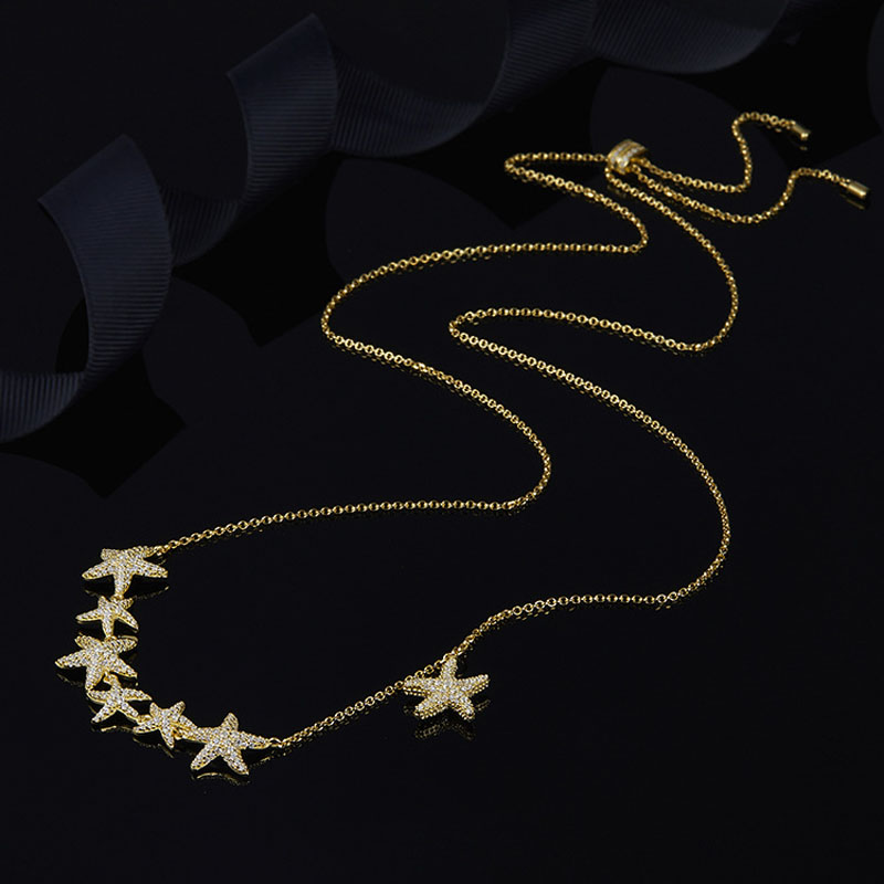SLJELY with Brand Logo 925 Sterling Silver Yellow Gold Color Multi Starfish Pendant Necklace Cubic Zirconia