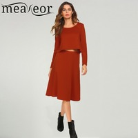 Meaneor Women Dress Suit Casual Fashion O Neck Long Sleeve Solid Tops Elastic Waist A Line