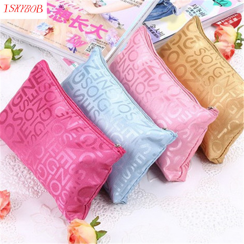Hot New Women Portable Cosmetic Bag Fashion Beauty Zipper Travel Make Up Bag Letter Makeup Case Pouch Toiletry Organizer Holder