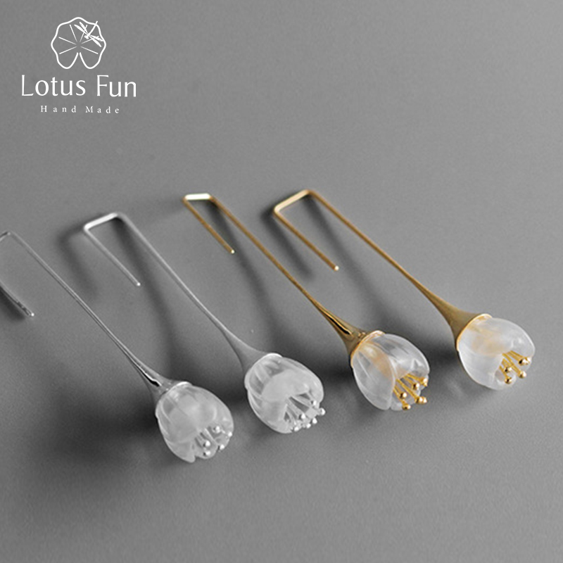 Lotus Fun Real 925 Sterling Silver Natural Crystal Handmade Designer Fine Jewelry Delicate Fresh Flower Drop Earrings for Women
