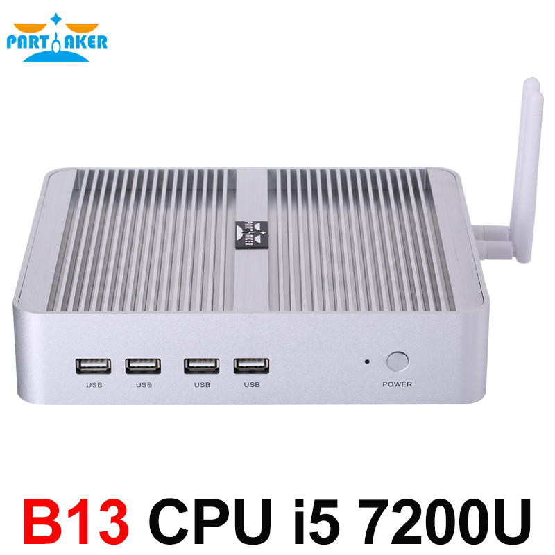 7th Gen Intel Core i5 7200U Partaker Newest Kaby Lake Win10 Mini PC Max 3.1GHz Fanless Nuc HTPC Intel HD Graphics 620 4K TV Box