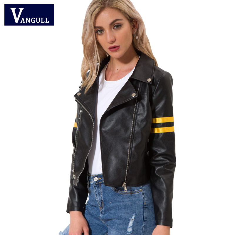 Vangull   Leather   jacket 2018 Spring New Women zipper moto Cool streetwear Autumn winter coat Female Black Faux   leather   jackets