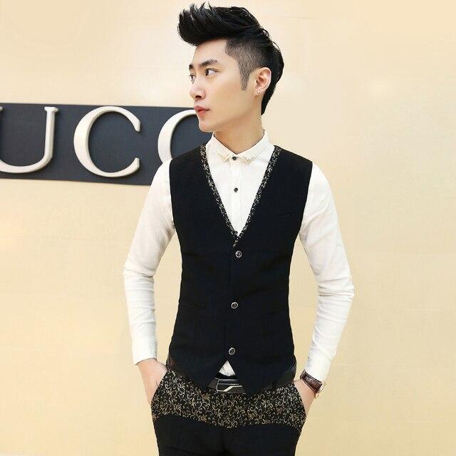 Men's suit vest Cotton V-neck jacquard British Slim vest Business casual wedding party dress waistcoat male new MJ01