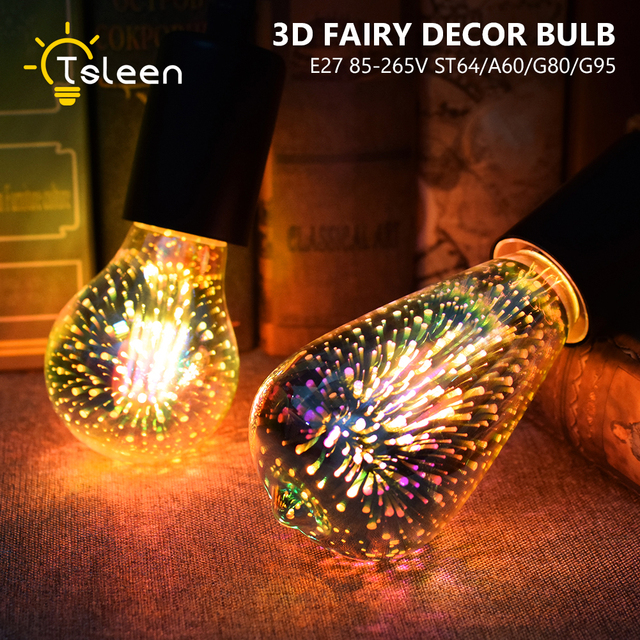 E27 5W LED 3D Decoration Light 85V-265V Novelty RGB Lamp Filament Fireworks Bulb  G80/G95/ST64 fairy lighting Edison Bulbs