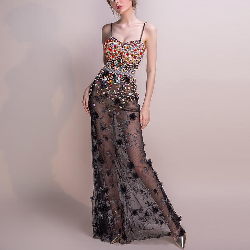 2018 Women Dresses Mesh Elegant Party Club Wear Sexy Wrap Summer Long Sweet Floral Nightclub See Through Gothic Lolita Dress