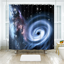 3D Space Storm Pattern Shower Curtains Starry Sky Black Hole Series Waterproof Thickened Bath for Bathroom Customizable