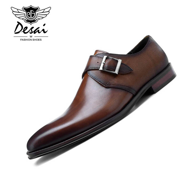 DESAI New European Style Handmade Genuine Leather Men Brown Monk Strap Formal Shoes Office Business Wedding