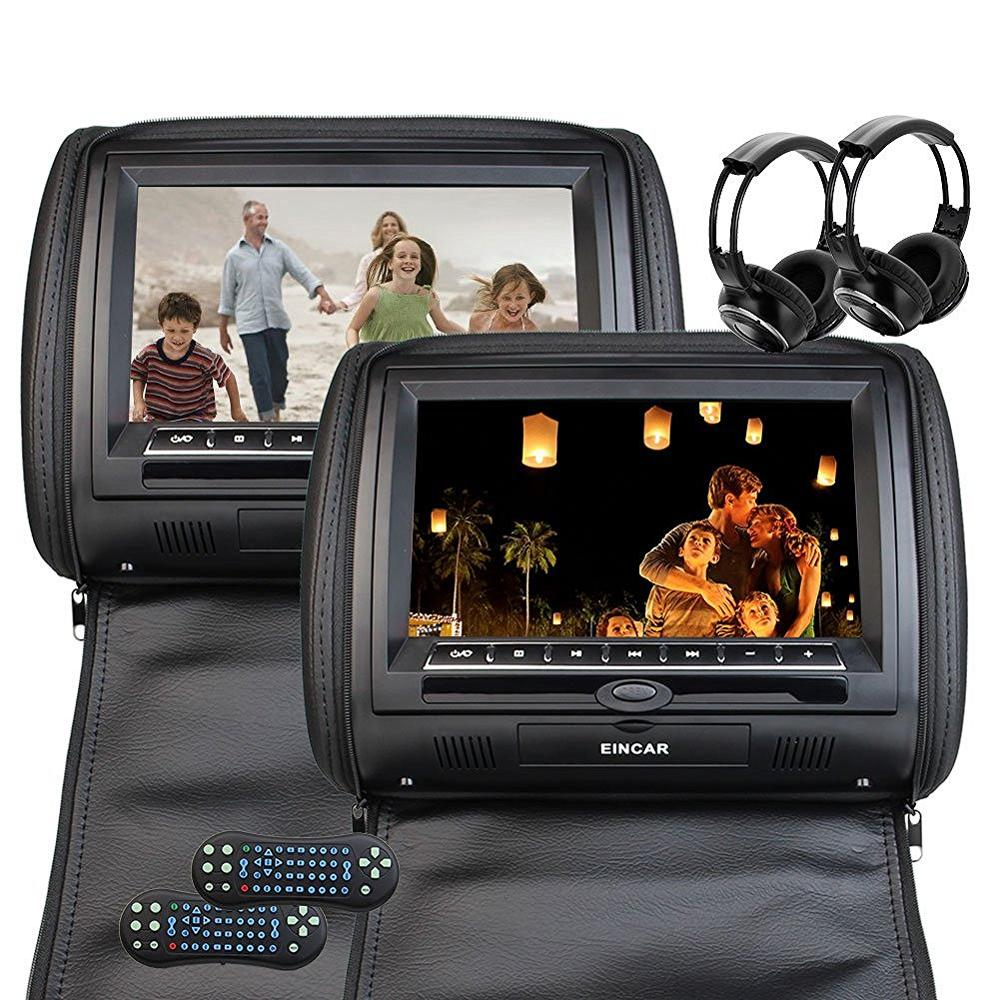 Black two Car headrest CD DVD player pillow HD Digital Screen Monitor FM Transmitter 32B ...