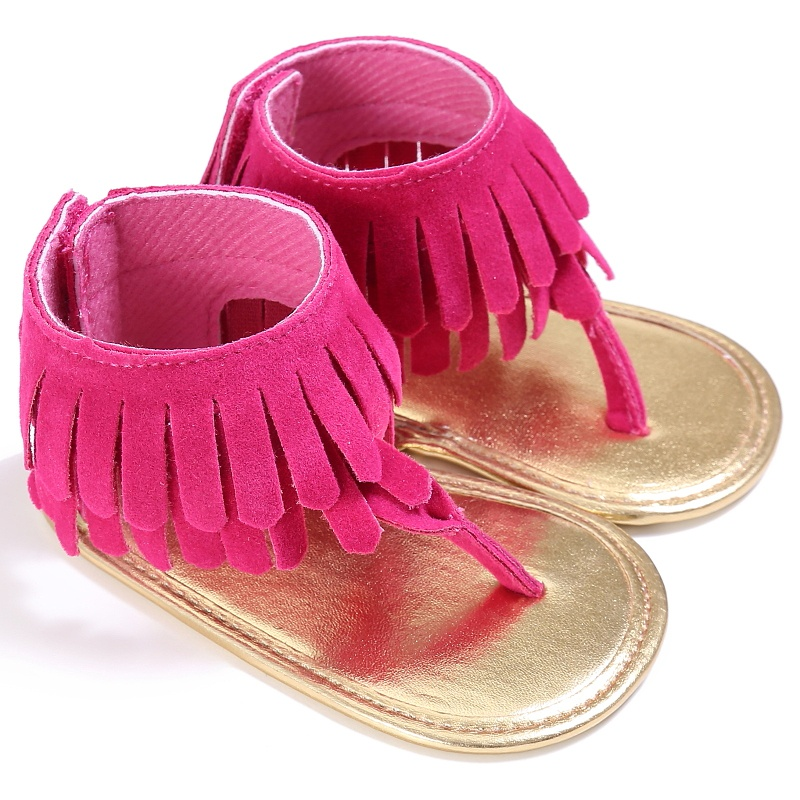 2018 Toddler Newborn Girl Baby Shoes Tassel Summer Shoes Anti-slip Flip Flop Newborn Prewalker For Baby Girls 0-18M