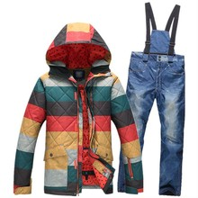 High Quality Ski Suit Men's winter wind and waterproof ski jacket men thick padded jacket and long trousers the warm paragraph