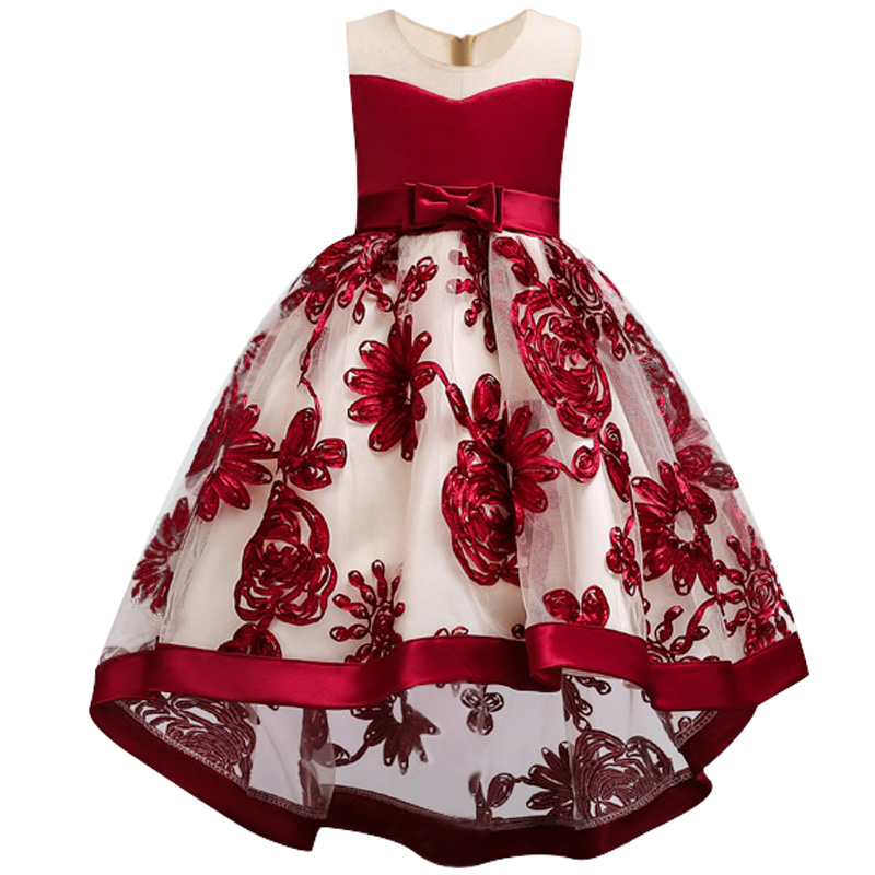 baby Girls dress of Flower girl dress for Girls Clothes Princess wine Red Wedding dress Trailing Children Kids Party Dress girl