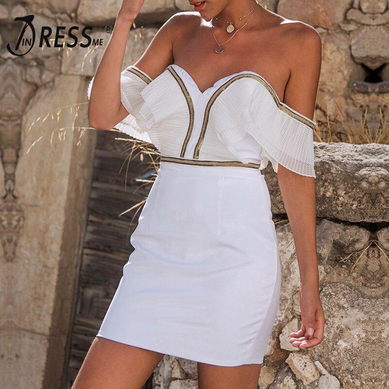 INDRESSME épaules dénudées pour femme robe lacée Mini V Cou Dentelle Or Moulante Sexy Club robe de fête Robes 2019