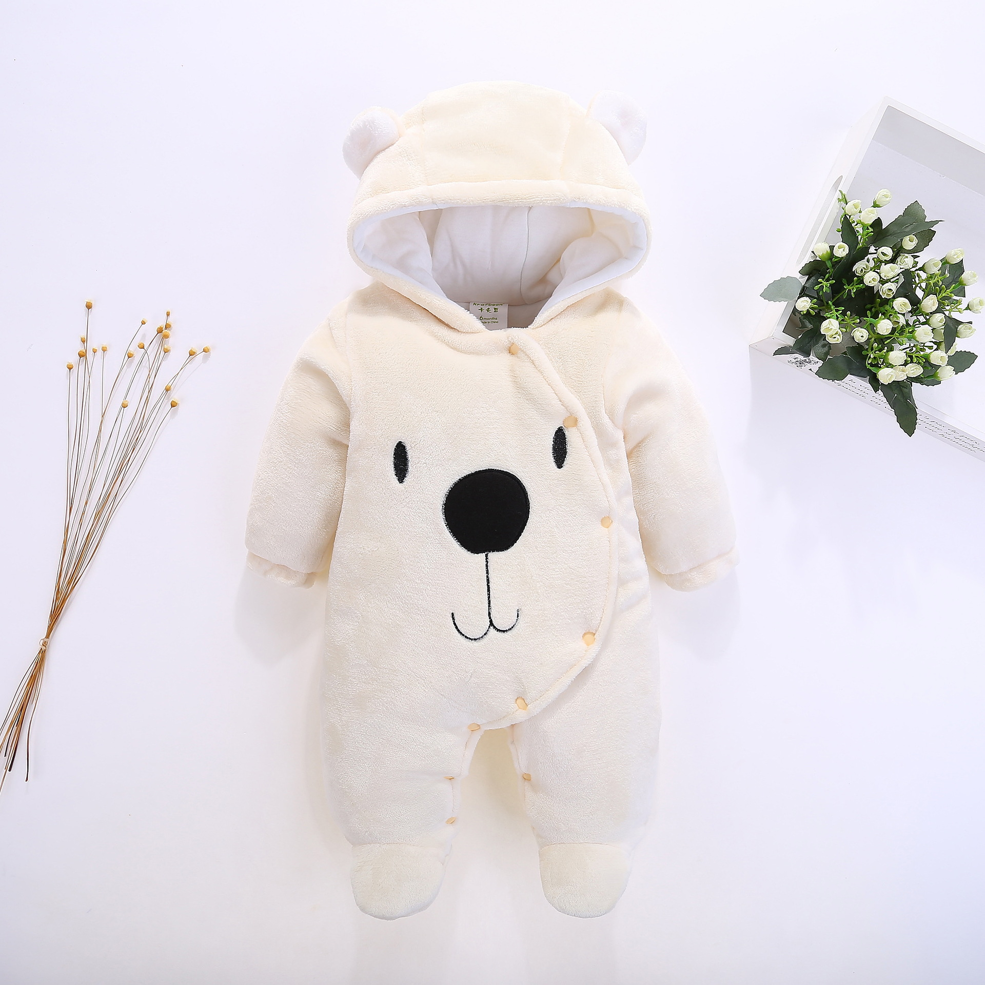 2018 Fleece Infant Baby Animal Overalls Bear Style Kid's Overalls Newborns Funny Clothes Cute Clothes for Baby Footies cute bear head style baby dinner plate tray pink