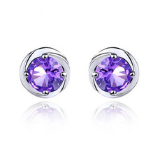 2014 New Arrival,Spherical Crystayl Earring Stud,925 Sterling Silver with AAA Grade Austria Crystal,three Layer Platinum Plated WE31