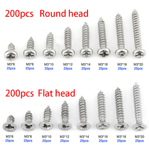 200pcs M3 Stainless Steel Flat Head Screws Kits High strength Self-Tapping Screws Assortment Set For Wood Furniture(China)