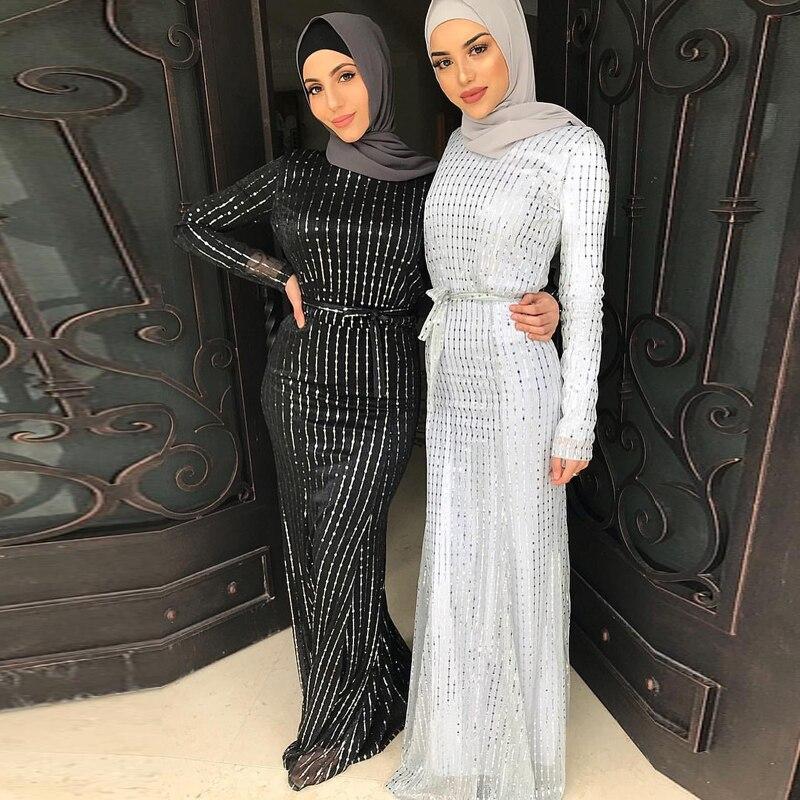 Sequin Abaya Dubai Muslim Hijab Dress Abayas For Women Kaftan Caftan Islamic Clothing Turkish Dresses Robe Femme Tesettur Elbise