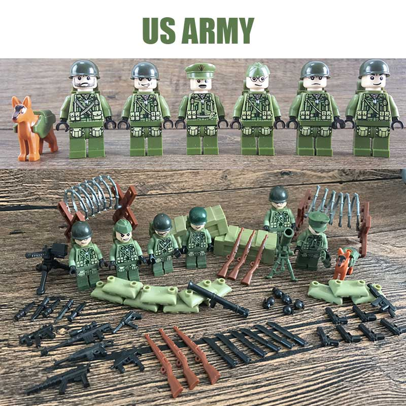 Oenux 6PCS WW2 Military US Band Of Brother The Battle Normandy Fight Figure Building Block Set Army Weapons Model Bricks Kid Toy 4pcs ww2 the battle of black forest militray model building blocks set army german soldier minifigures bricks toy for kids gifts