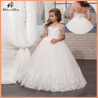 White Flower Girls Dresses with Short Sleeves Lace Little Girls Dress Appliques Tulle First Communion Dresses for Girls