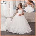 Weiße Blume Mädchen Kleider mit Kurzen Ärmeln Spitze Kleine Mädchen Kleid Appliques Tüll Erstkommunion Kleider für Mädchen