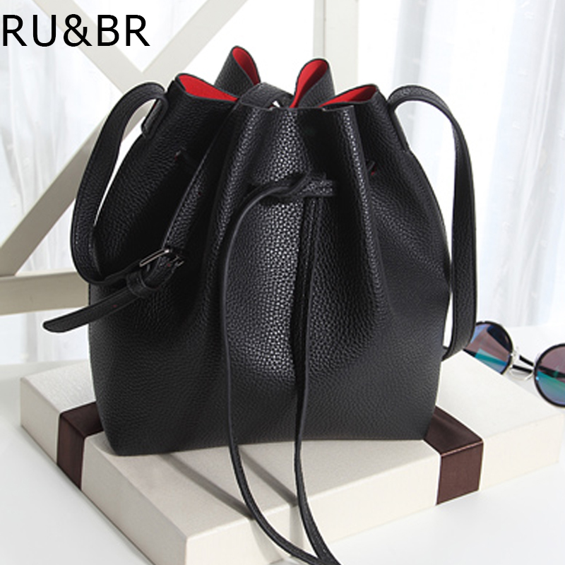 RU&BR New Korean Fashion Style Simple Bucket Bag PU Leather Solid color High Capacity Shoulder Bag  Leisure Wild Messenger Bag factory outlets opening film ru ru tea caddy sealed cans italics ru yaoli new ceramics products