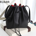 RU&BR New Korean Fashion Style Simple Bucket Bag PU Leather Solid color High Capacity Shoulder Bag  Leisure Wild Messenger Bag