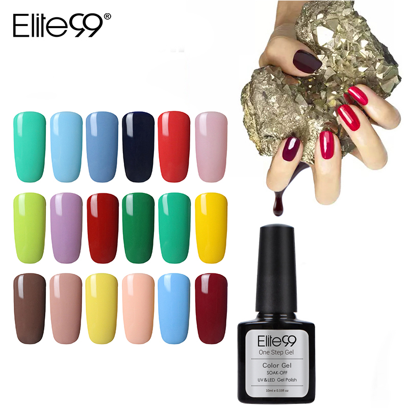 Elite99 un paso esmalte De gel De uñas UV LED laca manicura No necesita Base capa superior Esmaltes permanent De Color UV Vernis un Ongle