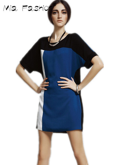 Blue and white colorblock dresses