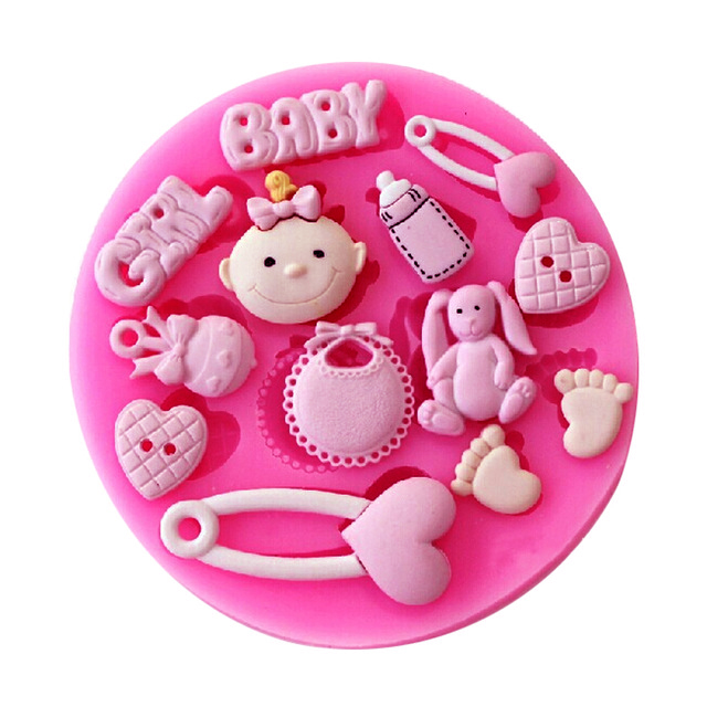 Cute Baby Shower Party Baby Care Series Flasker Fod Shape Fondant Silicone Mould Sukker Craft Chokolade Cake F0777