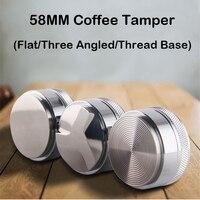 58mm Kaffee Tamper Distributor Flache/Gewinde Basis 304 Edelstahl Kaffee Pulver Hammer Drei Abgewinkelt Pisten Barista Zubehör