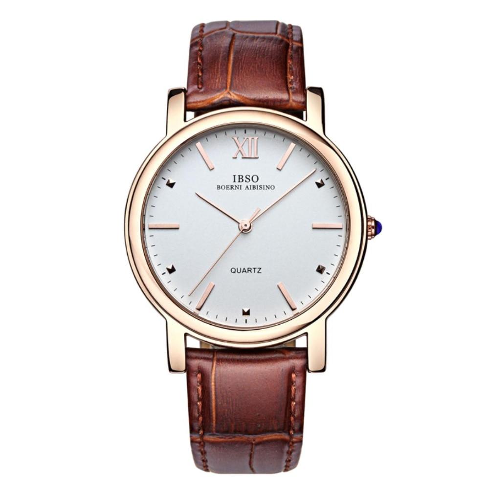 IBSO Mens Classic Fashion Watches Top Brand Luxury Genuine Leather Strap Quartz Watch Men 3ATM Waterproof 3971