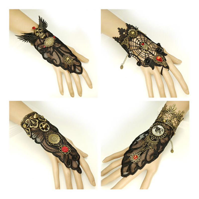 Hot Vintage Gothic Punk Bracelet Spider Wings Wings Black Spider Web Black Lace Women Gloves Rings Accessories Holiday Gifts
