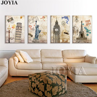 4 Piece Hot Sell Modern Wall Painting Famous Building City Home Decorative Art Picture Painting Canvas