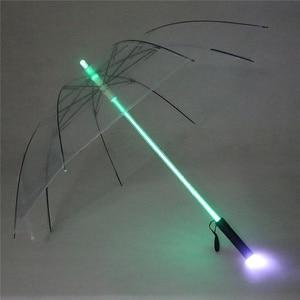 Image 1 - 4 색 크리 에이 티브 led 우산 스타 워즈 lightsaber 비 여자 남자 라이트 플래시 우산 밤 보호 생일 크리스마스 선물