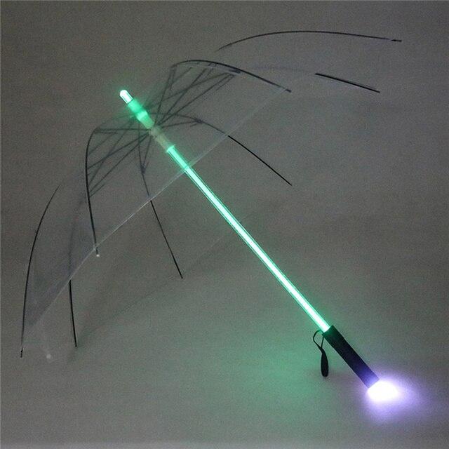 4 색 크리 에이 티브 led 우산 스타 워즈 lightsaber 비 여자 남자 라이트 플래시 우산 밤 보호 생일 크리스마스 선물