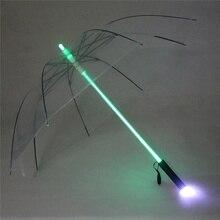 Sombrilla Led creativa en 4 colores de Star Wars, sable de luz para lluvia, para hombre y mujer, sombrilla con luz Flash, protección nocturna, regalo de cumpleaños y Navidad