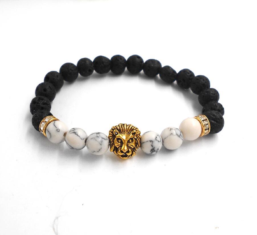 Tibetan Buddha Rose Lion Head Bracelet Yoga Mala Black Matte Stone Energy Charm Bracelets For