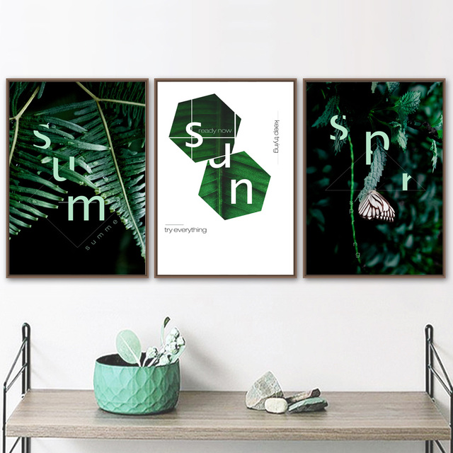 Geometric Fresh Green Leaf Butterfly Nordic Posters
